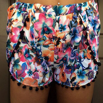 Summer Women's Fashion Print Beach Pants Shorts [6048520897]