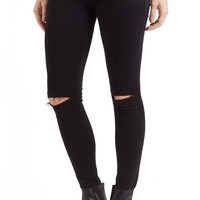Topshop Moto 'Leigh' Ripped Skinny Jeans (Black) (Regular & Petite) | Nordstrom