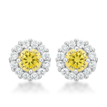 Belle Canary Yellow Halo Stud Earrings | 2.5ct | Cubic Zirconia