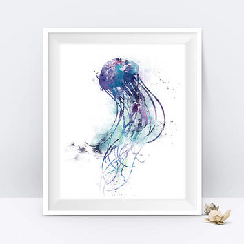 Jellyfish Print Watercolor Sea Life Decal Mural Fish Ocean Sea Wall Decor Fine Art Watercolor Ocean Nursery Jellyfish Art Digital Download