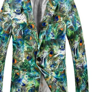 Men Slim Fit Men Floral Printed Blazer Jacket Blue Green Casual Suit Stage Costumes For Singers