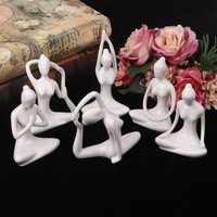Abstract Art Meditation Yoga Pose Statue Figurine Ceramic Yoga Figure Set Decor