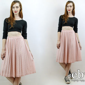 High Waisted Skirt Polka Dot Skirt Pink Skirt Midi Skirt Pleated Skirt Vintage 90s High Waisted Pleated Pink Polka Dot Knee Skirt S M L