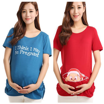 Maternity Tops Nursing Pregnancy T-shirts Cute Baby Printed Clothes For Pregnant Women Tee Shirt Femme