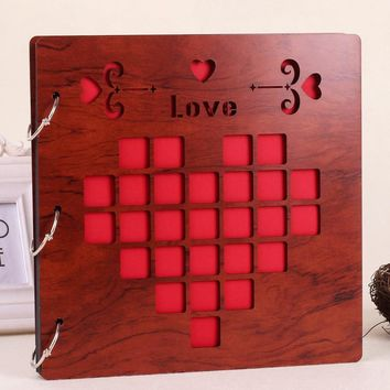 16 Inch Red Wooden Cover Photo Album Loose Leaf Memory Story DIY Photo Frame Album For Love Story Picture Collecting Book Multi