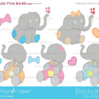 40% OFF Elephants clipart for scrapbooking & design, animals, zoo animals, wildlife - PGCLPK396