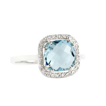 Suzanne Kalan Sterling Silver 8mm Cushion-Cut Blue Topaz Filigree Bezel Ladies' Ring