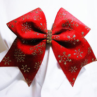 Cheer bow- Red velvet Christmas cheer bow with gold snow flakes-cheerleader bow, cheerleading bow, cheerbow, softball bow, dance bow,