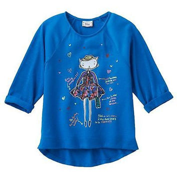 Disney D-Signed K. C. Undercover Girl's High Low Hitachi Top Blue Size XS 6 NWT