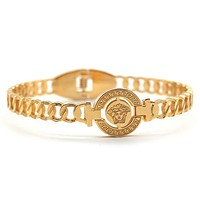VERSACE Trending Women Men Stylish Personality Stainless Steel Golden Bracelet