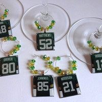 Green Bay Packers Wine Charm Set of 8