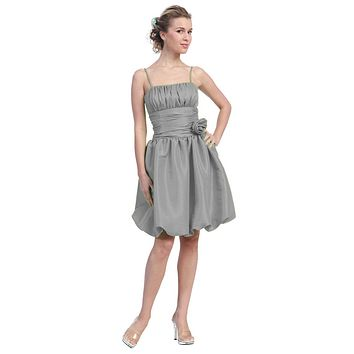 Silver Bubble Dress Knee Length Empire Flower Spaghetti Strap