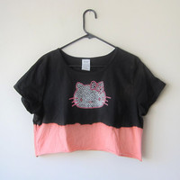Hello Kitty Crop Top, Dip Dye Bleached Pink & Black Kawaii Cute Pastel Goth, Plus Size XL Shirt