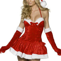 Red Velvet Halter Skater Dress Christmas Costume