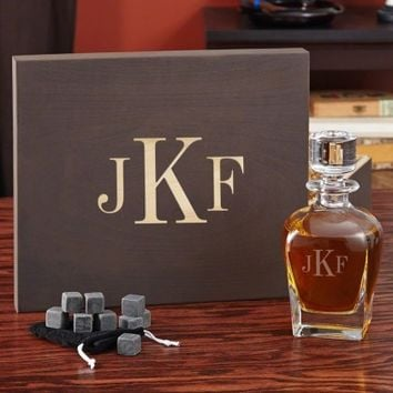 Personalized Decanter Gift Set with Custom Keepsake Box