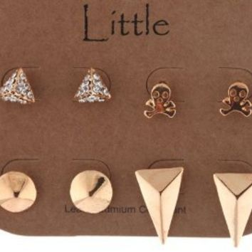 Gold Shapes and Skulls Themed Four Pair Stud Earrings Set: Jewelry: Amazon.com