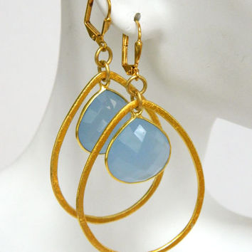 Blue Gemstone Dangle Earrings Handcrafted Chalcedony Gold Short