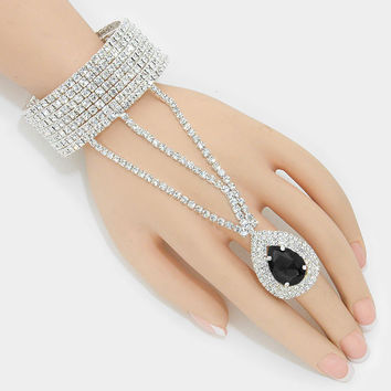 """ Angelic Midnight ""  Rhinestone Bracelet & Black Teardrop Crystal Ring Combo On Silver Tone"