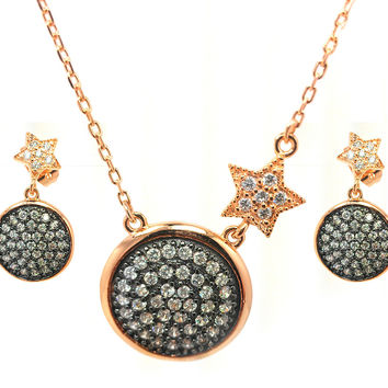 .925 Sterling Silver Black Rhodium &  Gold Plated Clear Round Disc Star Cubic Zirconia Dangling Stud Earring &  Necklace Set: SOD