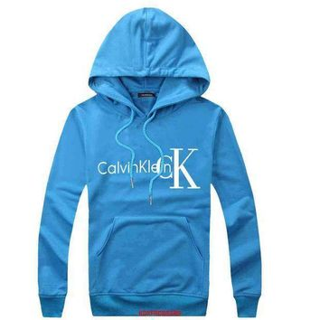 One-nice™ CK Calvin Klein Woman Men Hooded Top Sweater Hoodie Sweatshirt Blue I