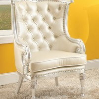 A.M.B. Furniture & Design :: Living room furniture :: Accent chairs :: Pawnee neo classic beige tufted faux leather and silver finish wood frame wing back accent side chair with nail head trim