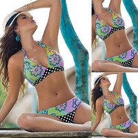 Hot Women Halter Floral Swimsuit Swimwear Lady Sexy Padded Bra Beachwear Push-up Bikini Set Brazilian Biquinis Maillot De Bain