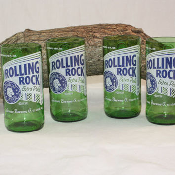 Drinking Glasses from Recycled Rolling Rock Beer Bottle, 8 oz., ONE glass
