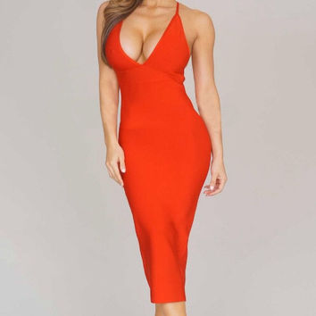 Kelsey bandage dress (red)