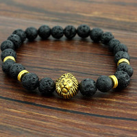 Men's Tiger Eye Lion Head Buddha Beads Bracelet
