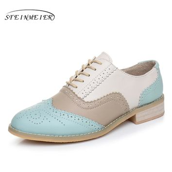 Women Genuine leather flats shoes handmade Black blue white 2017 sping vintage flat British style oxford shoes for women