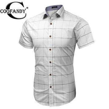 COOFANDY Men's Short-Sleeve Plaid Button-Down Casual Shirt