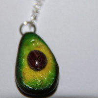 Avocado Necklace , handmade avocado necklace, polymer clay necklace, realistic food, miniature food jewelry, Polymer Clay Food