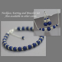 CUSTOM COLOR Swarovski Dark Lapis Pearl Necklace, Earring and Bracelet Set, Bridal Jewelry, Wedding Jewelry Set, Maid of Honor Gift