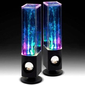 2017 2PCS LED Light Dancing Water Music Fountain Light Speakers for PC Laptop Phone Portable Desk Stereo water dancing Speaker