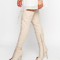 Truffle Collection Lace Up Ghillie Over The Knee Boots at asos.com