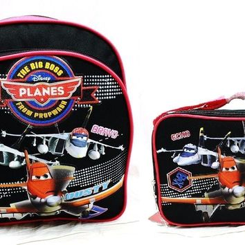 """Disney Planes Boys 10"""" Canvas Black & Red School Backpack w/Insulated Lunch Bag"""
