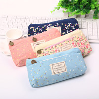 School Pencil Bag Pencil Pouch Double Zipper Pure and Fresh Cosmetic Bags Office Stationery Canvas Pencil Case