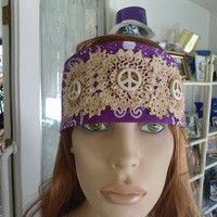 Upcycled Redesigned Hippie Boho Gypsy Bandana Headband with Hand Dyed Tea Stained Lace Doilies Purple with White Turquoise Peace Signs