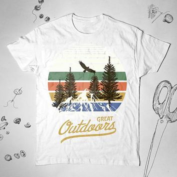 Outdoor Mountains Graphic Hiking Nature Tree Vintage Camping Tunic Shirt Top Blouse