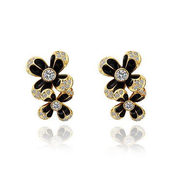 18K Gold Floral Onyx Covering Drop Down Earrings Made with Swarovksi Elements