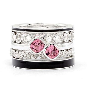 Sterling Silver Gemstone & Diamond Stackable Pink Paradise Ring Set