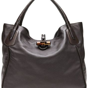 DCCK Gucci Dark Brown Leather Hip Bamboo Large Tote Bag