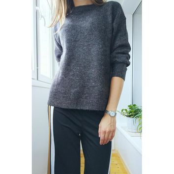 Autumn Wool Knitted Pullover Sweater Jumper Women's Clothing O-Neck Drop Shoulder Elasticity Coat Loose Jersey