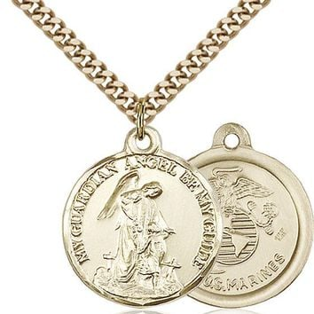 14K Gold Filled Guardain Angel Marines Military Soldier Catholic Medal Necklace 617759822243