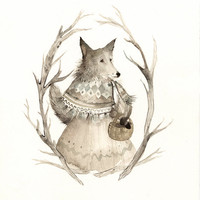 "Wolf Art - Grey, neutrals, taupe, woodland- print of Watercolor painting- ""October Wolf"""
