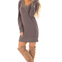Taupe Sweater Dress with Ribbed Details