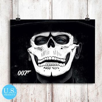 007 Spectre James Bond Skull Mask Poster Print Wall Decor Canvas Print - piegabags.com