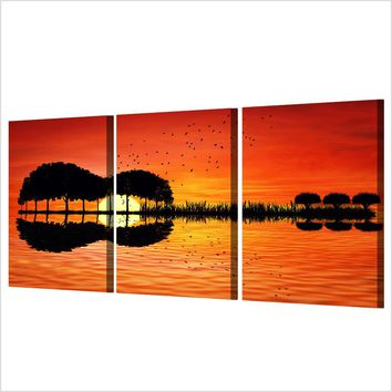 Fast US Ship - 3 piece canvas guitar island reflection print  - wall art canvas