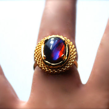 Adjustable Ring with Vintage Glass Heliotrope Mexican Opal Cabochon