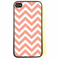 iPhone 4 Case - Silicone Case Protective iPhone 4/4s Case- Chevron Coral